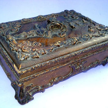 French antique 1880S napoleon III wooden large  box  jewelry box  box with antique ornate ormolu signed flower rose locket key Letter holder