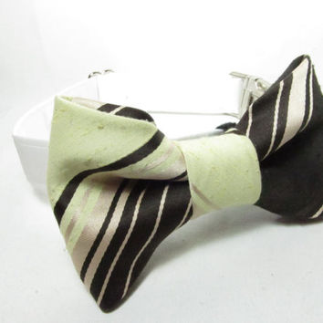 Dog Collar Bow - Brown and Tan Bowtie OOAK Silk Bow tie  - dog collar accessory, dog bow tie