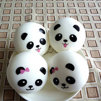 2Pcs Randomly Panda Squishies Kawaii Buns Bread Smell Charms Cellphone Straps