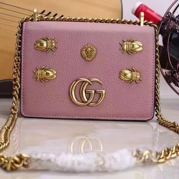 GUCCI WOMEN'S GG LEATHER CHAIN SHOULDER BAG