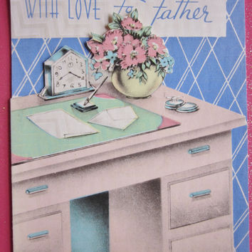Vintage Unused Father's Day Greeting Card With Love to Father, Die Cut, Desk, Cigarette, Flowers, Clock and Pen, Great Graphics Made in USA
