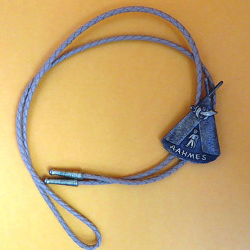 Vintage Shriners Bolo Tie - AAHMES Shriners Brown Leather Bolo, 1988 Potentate's Bolo Pendant
