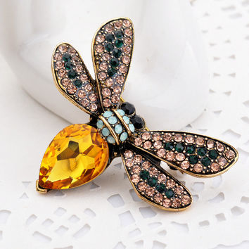 Multicolor Rhinestone Bee Brooch For Women Vintage Insect Pins