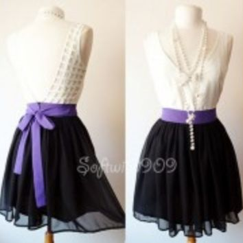 NEW Ivory Purple Black Colorblack Open Cage Cutout Back Contrast Mod Chic Dress