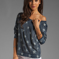Current/Elliott The Letterman Sweatshirt in Indigo with Stars from REVOLVEclothing.com