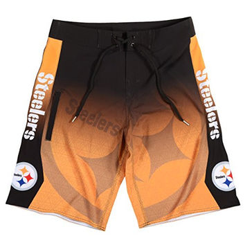 KLEW NFL Pittsburgh Steelers Gradient Board Shorts, Small, Black