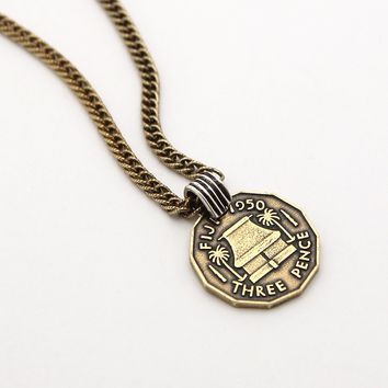 """The Fiji Coin Necklace - 25"""" chain"""