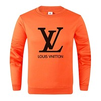 LV Louis Vuitton Autumn And Winter New Fashion Letter Print Women Men Long Sleeve Top Sweater Orange
