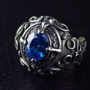 STERLING SILVER BOYS STYLE GOTHIC STYLE RETRO DO THE THAI SILVER RING