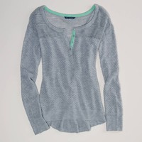 AE Open Stitch Henley   American Eagle Outfitters
