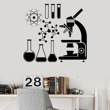Wall Vinyl Decal Microscope Science Scientist Chemistry School Stickers (ig3079)