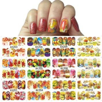 12 Designs/Sets Autumn Maple Leaf Nail Sticker Decals Beauty DIY Full Wraps Foils Watermark Nail Art Tattoos A1201-1212