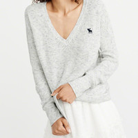 Womens Icon V-Neck Ribbed Sweater | Womens Tops | Abercrombie.com