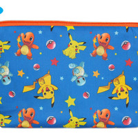 NEW Pokemon Makeup Pouch featuring Pikachu, Squirtle, Charmander | Blue Zipper Pouch