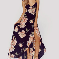 Fashion Sleeveless Strap V-Neck Flower Print Split Chiffon Maxi Dress