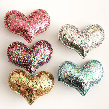 Kids Puffy Glitter Heart Barrette in Pink, Multi, Gold, Silver, or Blue