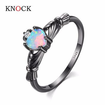 KNOCK  high Charming Heart Shape Fire Opal Rings For Women Wedding Band Vintage Black  Filled White  Ring