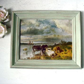 Vintage Country Art with Cows, Green Framed Art, Country Kitchen Decor, Small Wall Hanging, Distressed Vintage Frame, Green Decor, Gift Idea
