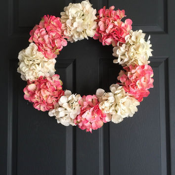 NEW Door Wreath Elegance Collection - French Pink & Cream Colors - Hydrangea Wreath - Front Door Wreaths - Summer Decor - Housewarming Gift