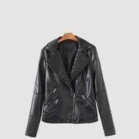 Black Notched Collar  Zipper Pockets Long Sleeve Leather Jacket