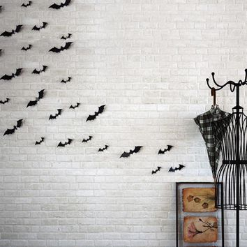 12Pcs Set 2016 3D DIY PVC Black Bat Wall Sticker Decal Home Halloween All Saints' Day Decor Bats Sticker Supply Sep2