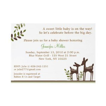 Willow Deer Forest Neutral Baby Shower Invitations from Zazzle.com