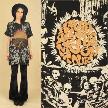 ViNtAgE 90's The Black Crowes VooDoo Skull Print 'High As The Moon' Tour T-Shirt xl