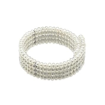 Bridal Freshwater Cultured Choker 4 Row Silver Plate Bar Necklace