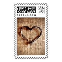 Rustic Country Burlap Twine Heart Postage Stamps