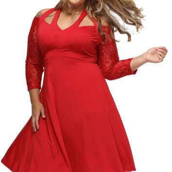 Red Alluring Lace Sleeve Swing Plus Dress