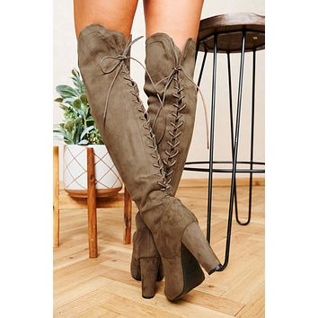 Crossing Paths Faux Suede Thigh High Boots (Dark Taupe)