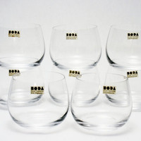 8 Early Erik Hoglund for BODA Egg Shell Thin Cordial Glasses Vintage New Stock w Stickers Awesome Sweden Modern Art Glass Barware KOSTA