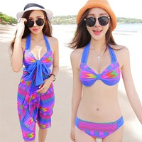 Jingar 2014 Gingell new chest size steel plate closed swim dress swimwear bikini three piece suit Hot Springs 1438 - DinoDirect.com