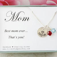Gift for mom - sterling silver necklace with Swarovski birthtones - Mother's Day gift - hand stamped 1/2 inch Mom charm - best mom ever