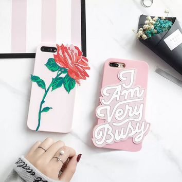 Flower Phone Cases for iPhone 8 7 Plus 6 6s 6Plus 6sPlus 3D Girls Soft Silicone Back Shell Cover Case