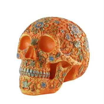 Skull Skulls Halloween Fall Resin Craft  Sculpture High Quality Painted  Halloween Gift Home Decoration Accessories Statue   Shipping Calavera