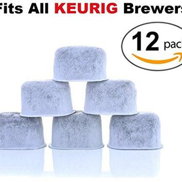 12-Pack  Compatible Water Filters by  - Universal Fit (NOT CUISINART) Keurig Compatible Filters - Replacement Charcoal Water Filters for Keurig 2.0 (and older) Coffee Machines
