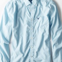 AEO Men's Microstripe Button Down Shirt (Turquoise)