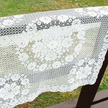 Vintage Lace Tablecloth Floral Crochet Topper Stitched Roses Ecru