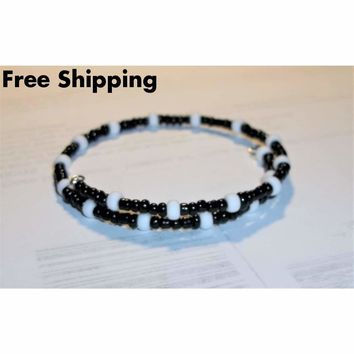 Black and White Glass Beaded Artisan Crafted Stackable Wrap Bracelet (S-M)