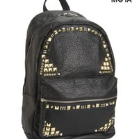 Aeropostale  Womens Studded Faux Leather Backpack - Black
