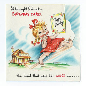 Vintage Birthday Card 1950s Rural Country Girl Mid Century Greeting Card
