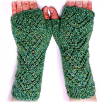 Lace Knit Fingerless Gloves / Mittens / Wrist Warmers // READY TO SHIP // Premium Wool Alpaca Blend Yarn // Spring Fashion Accessories