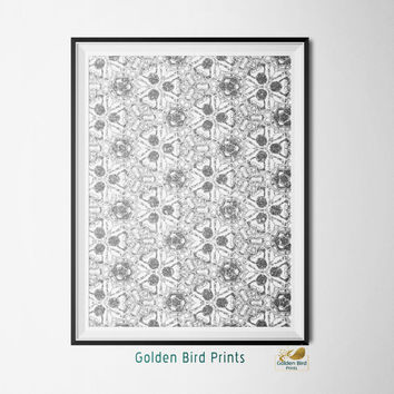 Silver and White Filigree Design - Printable Wall Art - Art Print - Digital Art Printable - Home Decor - Instant Download