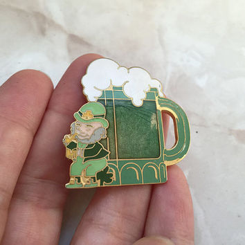 Irish Pride Pin, Green Leprechaun Lapel Pin, St Patricks Day, Green Beer, Ireland Pin Irish Lapel Pin Irish Pin Pub Pint Fun Enameled Brooch