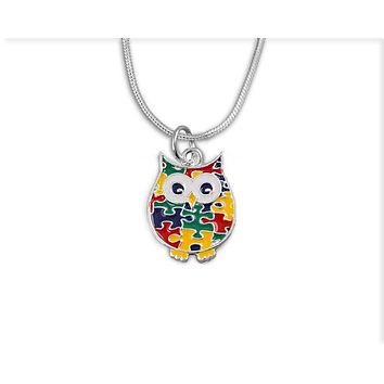 Autism Owl Puzzle Piece Necklace with a Box