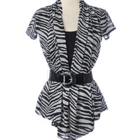 rue21 : Cap sleeve zebra top with belt