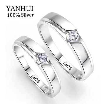 YANHUI 100% Original Natural 925 Silver Wedding Rings for Men and Women 0.5Ct CZ Engagement Couple Rings Set For Lovers JZRD09