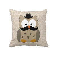 Owl with Mustache and Hat Pillows from Zazzle.com