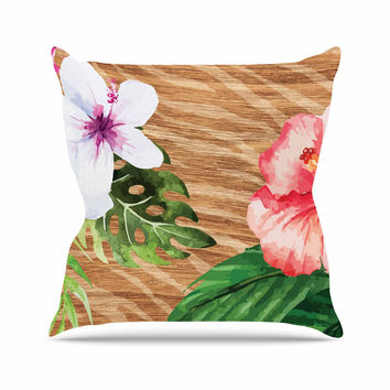 """NL designs """"Vintage Tropical Jungle """" Pink Floral Throw Pillow"""